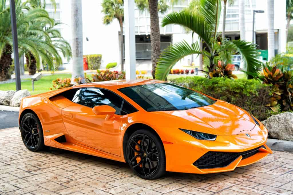 153   Supercar Lamborghini Aventador orange color